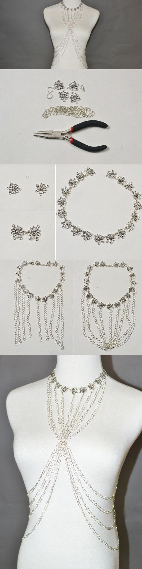 DIY Handmade Flower Body Jewelry with Chain #tutorial #bodyjewelry #pandahall