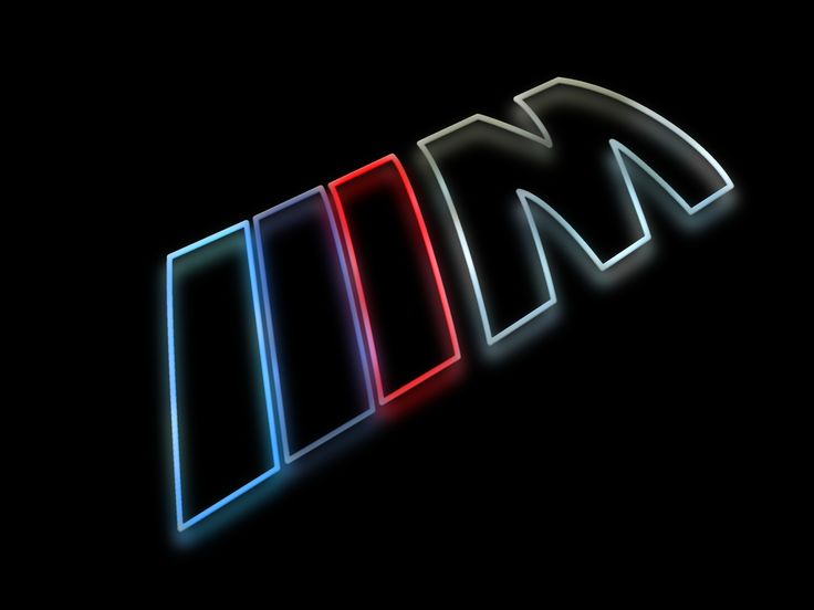 BMW M Logo as a colorful silhouette rendering with a glow against a shiny black surface.