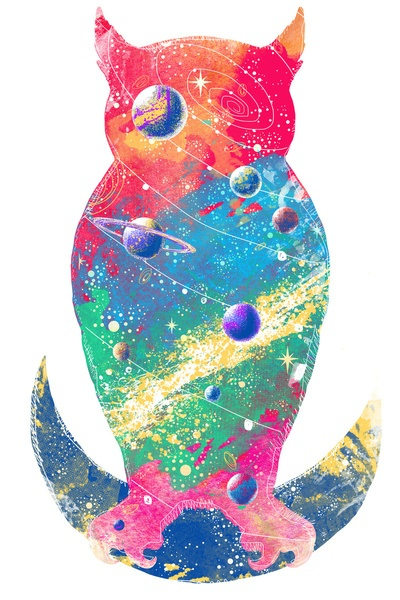 @Caroline Purser  kinda makes me think of the cosmic owl... if this could be done well... good god imagine the tattoo...