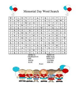 memorial day word search holiday zone