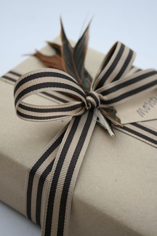 Simple black-and-white wrapping for fall.