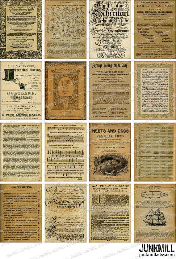 BOOK PAGES - Digital Printable Collage Sheet  Instant Download Vintage Ephemera by JUNKMILL Available in two sizes.