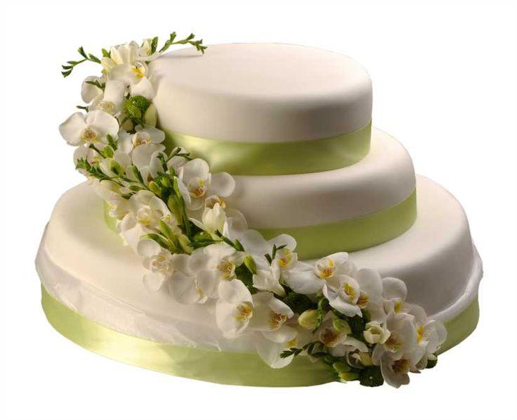 Svatební dort 38 Svatební dort, o rozměrech 24 cm, 32 cm a 52 cm, obalen fondánem, dozdoben saténovými stuhami a květy orchidejí