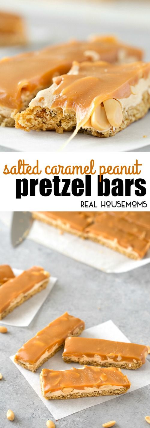 These Salted Caramel Peanut Pretzel Bars are easy to make and sure to delight your whole family!  via @realhousemoms