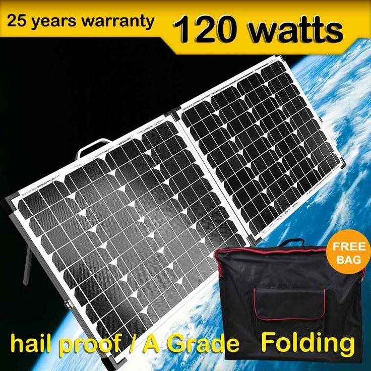 New 12v 120W Solar Folding Panel Kit Caravan Boat Camping Power Mono Charging