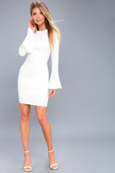 425580d80f Flare to Spare White Flounce Sleeve Bodycon Dress in 2019