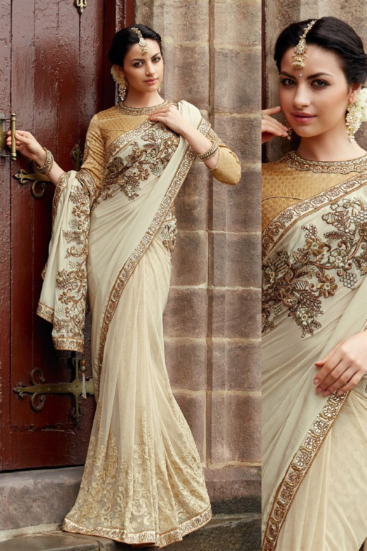 Beige Crape and Net and Jacquard Eye Catching Saree