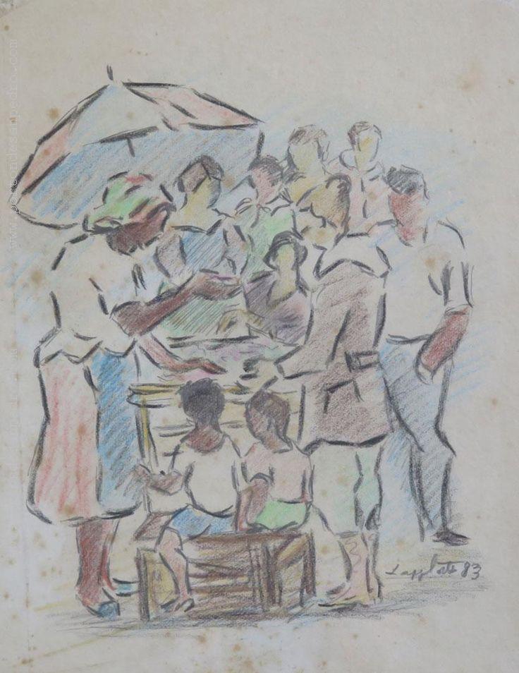 """Manuel López Cortés """"Feria"""" Pastel sobre papel 27 x 21cms. Año 1983  Firmado y fechado abajo a la derecha  http://www.portondesanpedro.com/ver-producto.php?id=13515"""