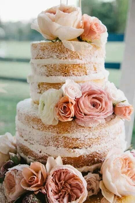 Naked wedding cake. I love the look of this but I also love icing wayyy too much for this I think!