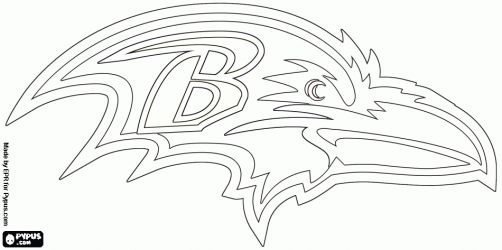Baltimore Ravens logo, american football team in the North division AFC, Baltimore, Maryland coloring page for hubby