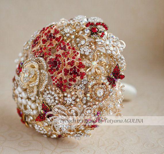 Brosche Bouquet. Gold und rot Kristall Brosche Bouquet, Brautstrauß. Quinceanera Andenken Strauß