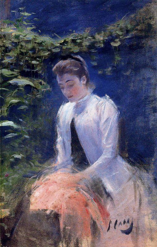 ESTUDI. Portrait 1891 by Ramon Casas. Oil on Canvas55 x 35 cm. Museu del Cau Ferrat. Sitges, Catalonia | Europe