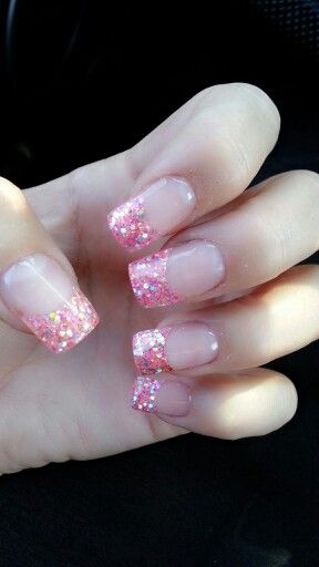 Pink glitter gel nails for my October birthday