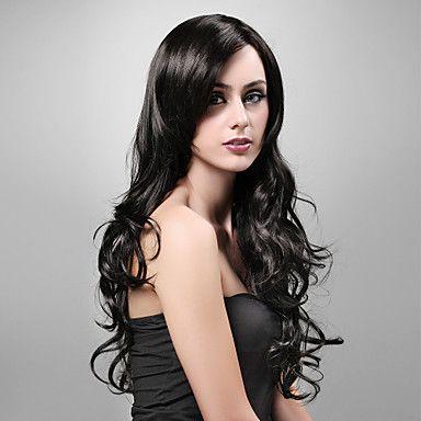 Capless extra lange hoge kwaliteit kunststof natuurlijke look zwart krullend haar pruik – USD $ 39.99