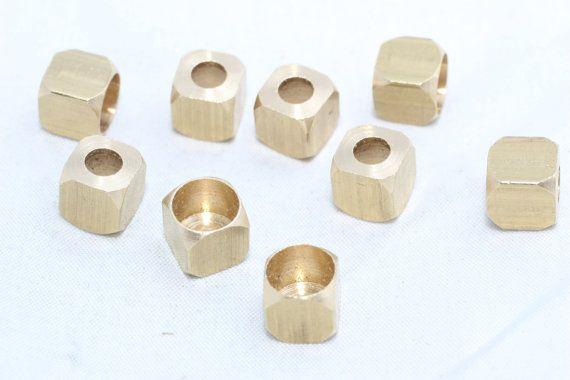 10 шт Внутренний 5,5mm Raw Brass Заглушка, квадрат, прямоугольник, конусы, крышки шарика, Геометрическая Заглушка, твердая латунь, NED8