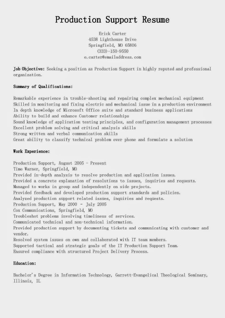 28 best resume samples images on Pinterest Sample html, Best - tech support resume
