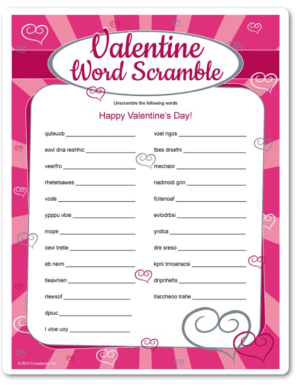 Christian Valentine Party Games Valentine Word Scramble Glo S