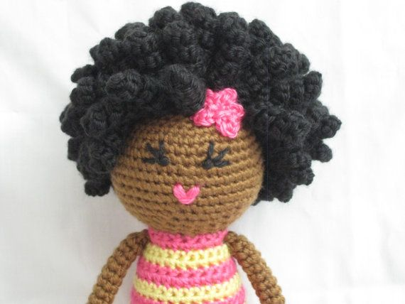 Crochet African Doll in Pink and Yellow Plush Afro Natural Black Hair ...