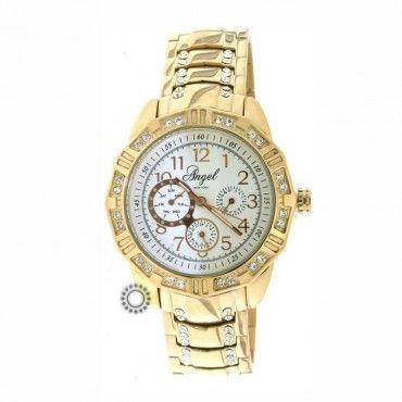 Γυναικείο ρολόι quartz ANGEL με λευκό καντράν και ροζ μπρασελέ. Εγγύηση 2 ετών της επίσημης αντιπροσωπείας #angel #χρυσο #μπρασελε #γυναικειο #ρολοι