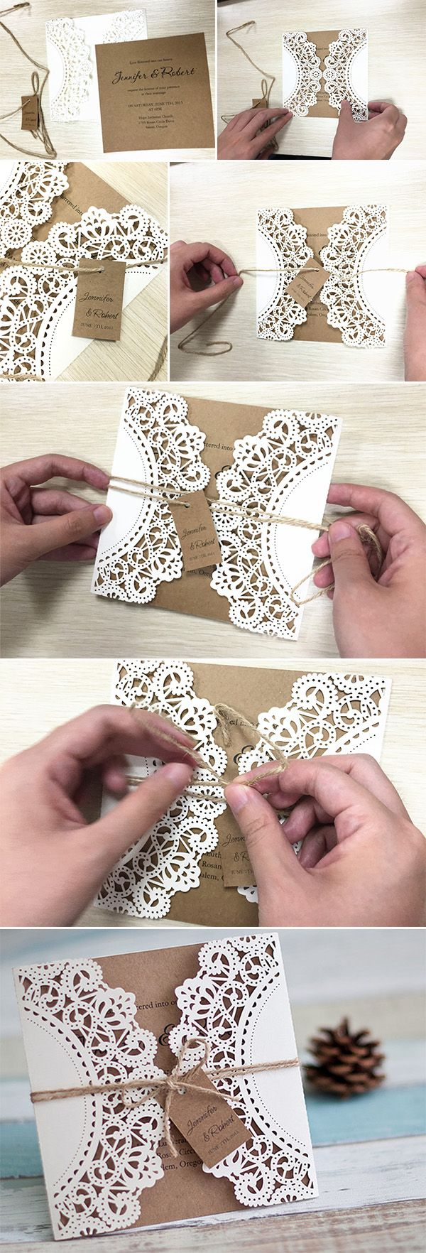 lace and burlap diy laser cut rustic wedding invitations for country wedding ideas