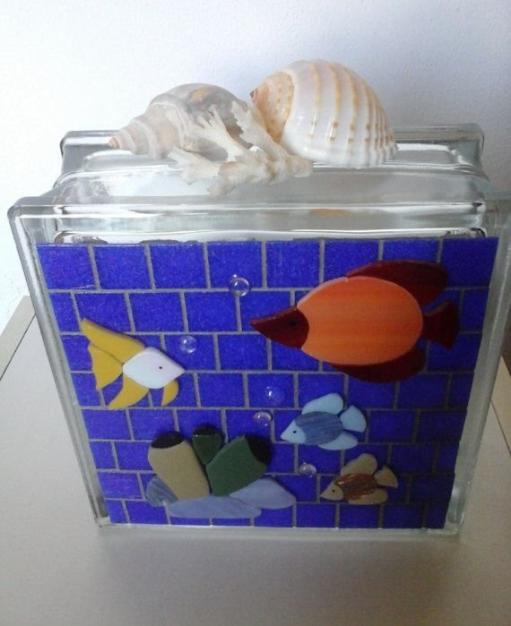 Mosaic sea fish tank aquarium glass block lamp by Crazy4Mosaics