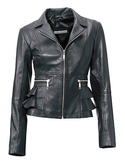 Ashley Brooke - Leren jack jasje lamsnappa  zwart in de Heine online-shop leather black jacket coat peplum look