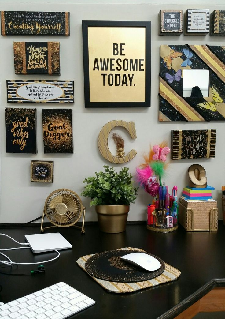 Decorated My Plain White Cubicle With Black And Gold Decor (and Pops Of  Color)