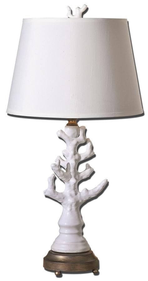 Uttermost Coral White Table Lamp 32 H Shade 16 Dia.