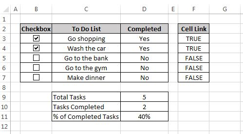 If you want to learn how to insert checkboxes in an Excel worksheet then please click on the link below.   This tutorial will not only teach you how to insert checkboxes in your worksheet and to link them to a cell but will give you a real life example of how you would use them in a form.  If you have any questions or want to give me any feedback on this tutorialthen please leave a message in the comments section of the page. I would love to hear from you!  Enjoy!  http://excellatexcel.com/inse