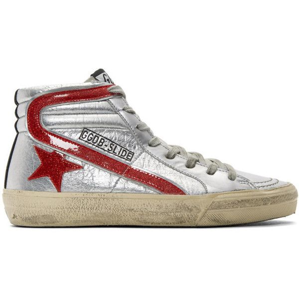 Silver and Red Glitter Slide High-Top Sneakers Golden Goose Tu7Zi