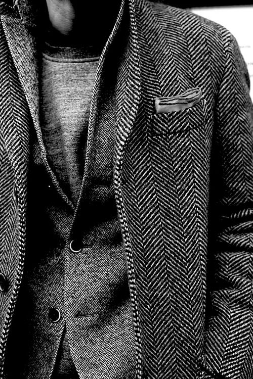 Grey jacket, Shades of Herringbone, men's fashion