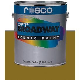 PINTURA OFF BROADWAY ANTIQUE GOLD, 3,8 Litros ROSCO    Color ANTIQUE GOLD    PINTURA ESCENICA ROSCO OFF BROADWAY    Off Broadway es una de las pinturas escénicas más populares utilizada en escenario, teatro y como pintura para escenografía. Una paleta de colores teatrales ricos mates en una cubierta flexible de vinilo acrílico hace Off Broadway pintura perfecta para casi cualquier aplicación escénica o artística.