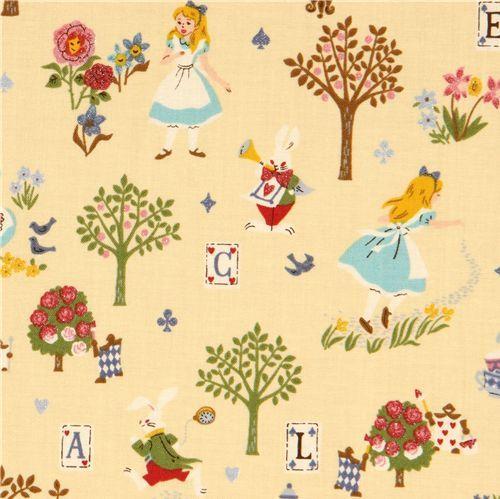 yellow Alice in Wonderland glitter Kokka fabric Japan 1