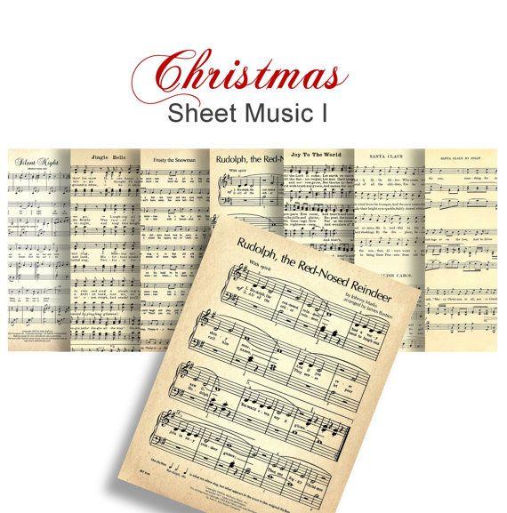 CHRISTMAS CAROLS Sheet Music no 1 - Digital Paper Pack - 7 Christmas Songs Vintage Piano Music  -Instant Download Digital Printable Papers