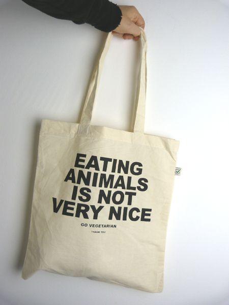 Bio Baumwolltasche mit handgemachten Siebdruck // Organic cotton tote bag with handmade screenprint 'Eating animals is not very nice' by ilovemixtapes via DaWanda.com