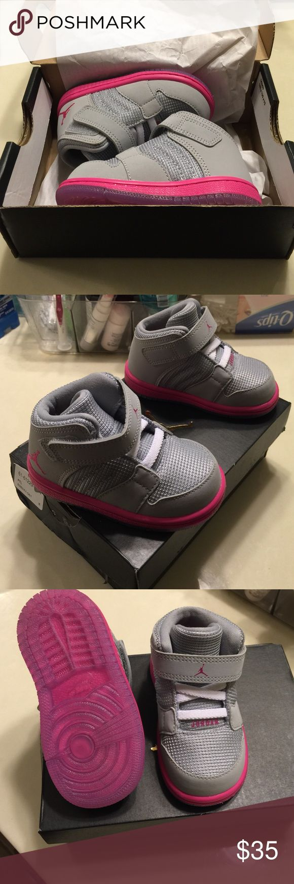 Brand new out of the box girl Jordans with box Toddler High top Jordans for girls. Jordan1 Flight4 size 5c pink and grey! Clean! Haven't worn! Jordan Shoes Sneakers