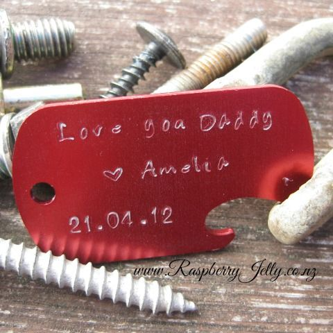 Dogtags with a personal message hand stamped for that man in your life. These are made from Anodized Aluminium. Lightweight and Durable