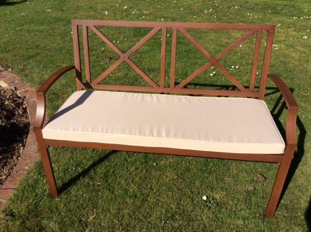 Luxury 2 Seater Garden Bench, Metal Aluminium Wood Effect with Beige Cushion #UKGardens