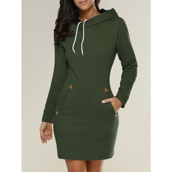 Tight Short Long Sleeve Long Hoodie Mini Dress ($26) ❤ liked on Polyvore featuring dresses, long sleeve dress, long green dress, green dress, long day dresses and green long sleeve dress