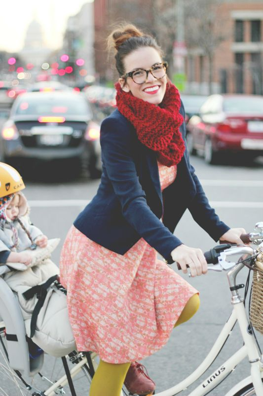 currently obsessing over a high bun.: Glasses, Knits Scarves, Bike Riding, Outfit, Dresses, Color Mixed, Blazers, Scarfs, Red Scarves