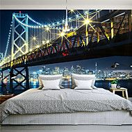 JAMMORY+3D+Wallpaper+For+Home+Contemporary+Wall+Covering+Canvas+Material+Night+City+Bridge3XL(14'7''*9'2'')+–+USD+$+131.73