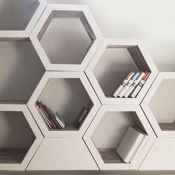 Form Maker: Versatile Hexagonal Bookcase made from recyclable cardboard.