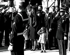 """John John saluting """"Goodbye"""" and showing respect to his assassinated father."""