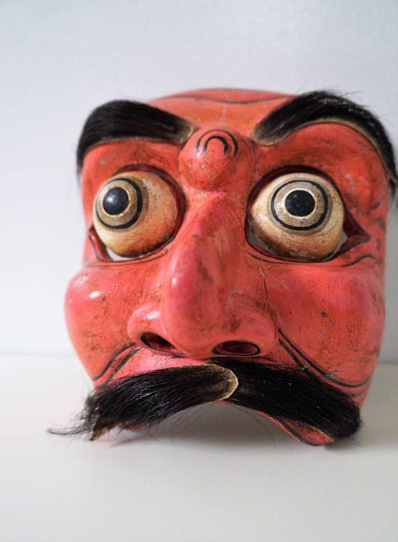 rare indonesian dance mask - java surakarta topeng - indonesian topeng - indonesian art - javanese dance mask - weird art - weird home decor