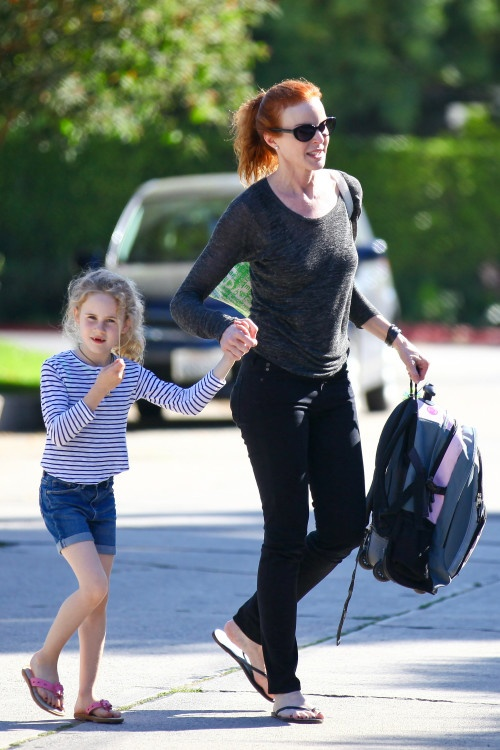Marcia Cross and her twins wrap up another school day