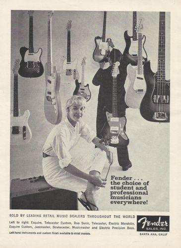 "Fender Electric Guitars Original Vintage Magazine Ad ""Down Beat"" 1960 | eBay"