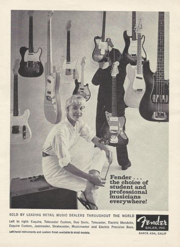 "Fender Electric Guitars Original Vintage Magazine Ad ""Down Beat"" 1960 