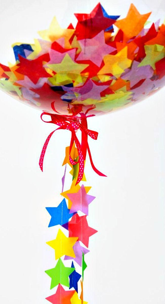 Confetti Star Balloons ~ fun idea to fill balloons with confetti