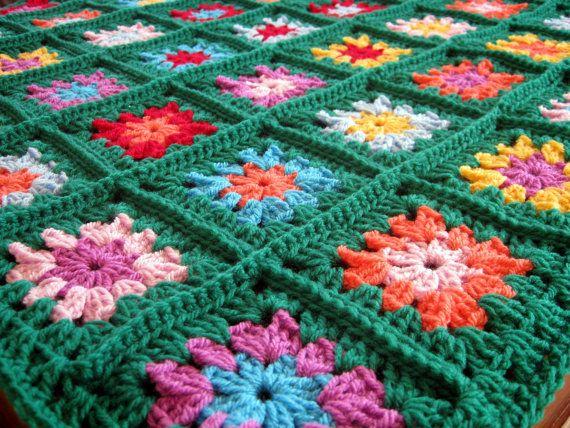 HAPPY Emerald Green Granny Square Crochet Blanket Nursery. £55.00, via Etsy.