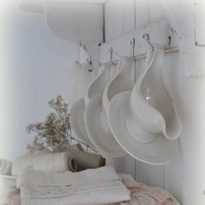 IRONSTONE GRAVY BOATS, LINENS, AND SPOOLS OF THREAD.